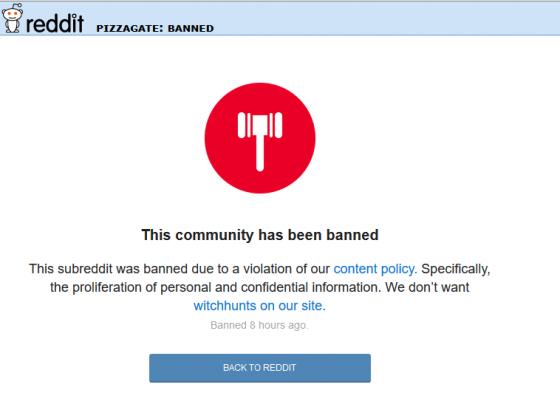 reddit banned pizzagate