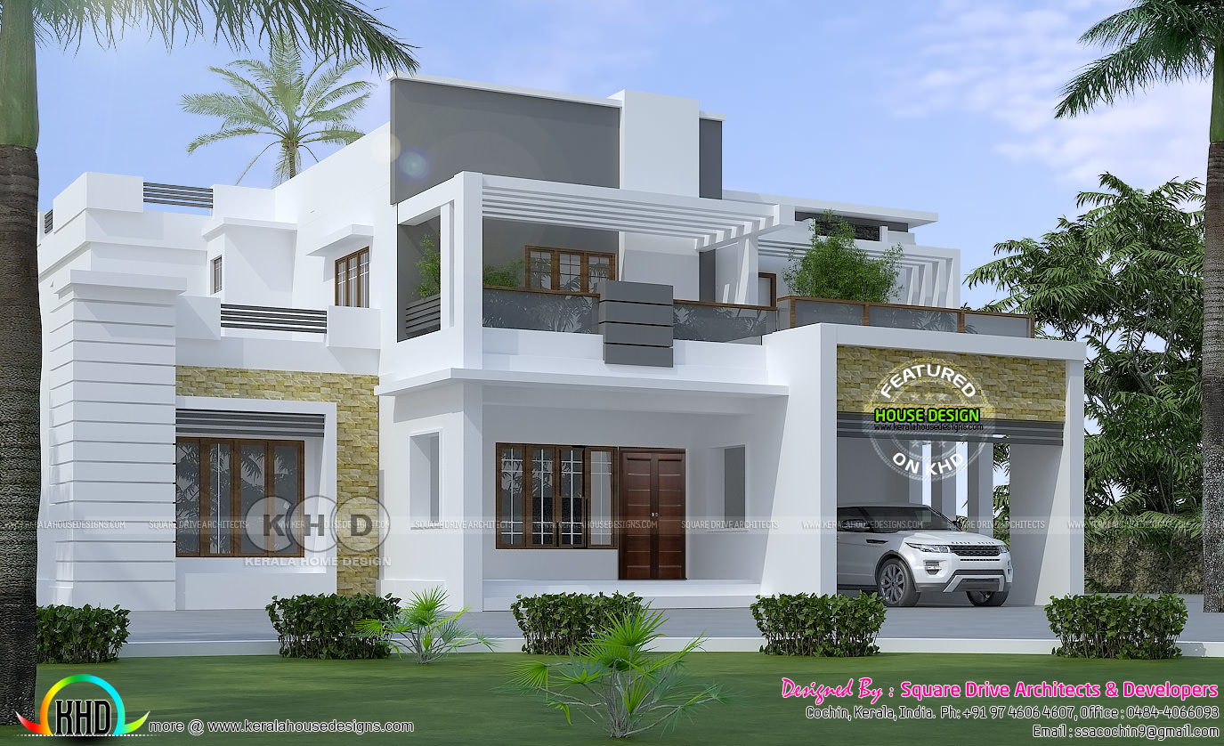 2400 sq-ft modern 4 BHK contemporary house | Kerala home ...