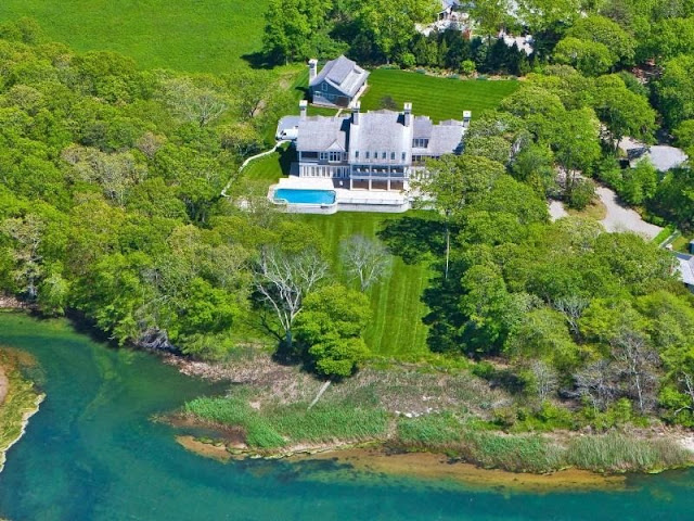 Aerial view exterior waterfront Hamptons estate