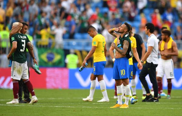 Neymar Jr of Brazil celebrates following his sides victory in the 2018 FIFA World Cup Russia Round of 16 match between Brazil and Mexico at Samara Arena on July 2, 2018 in Samara, Russia. (July 1, 2018 - Source: Dan Mullan/Getty Images Europe)