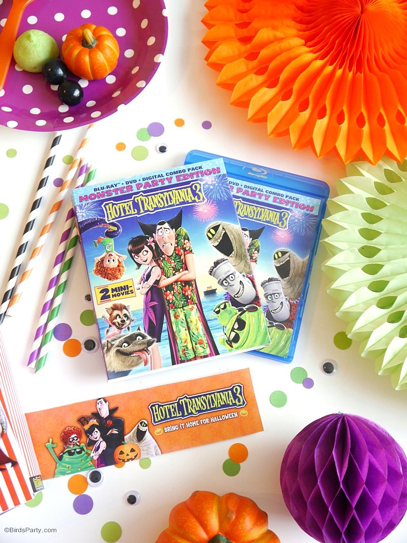 A Hotel Transylvania #Halloween Movie Party with Free Printables - fun party decorations, food, and DIY costumes for a fang-tastic celebration! - HotelT3 is available on Digital now and Blu-ray and DVD  on 10/9"