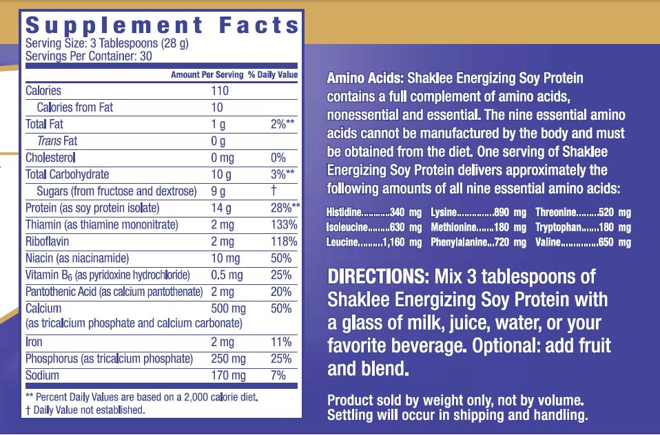 Maklumat nutrisi Energizing Soy Protein (ESP)