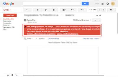 advertencia de un posible correo electrónico spam en gmail