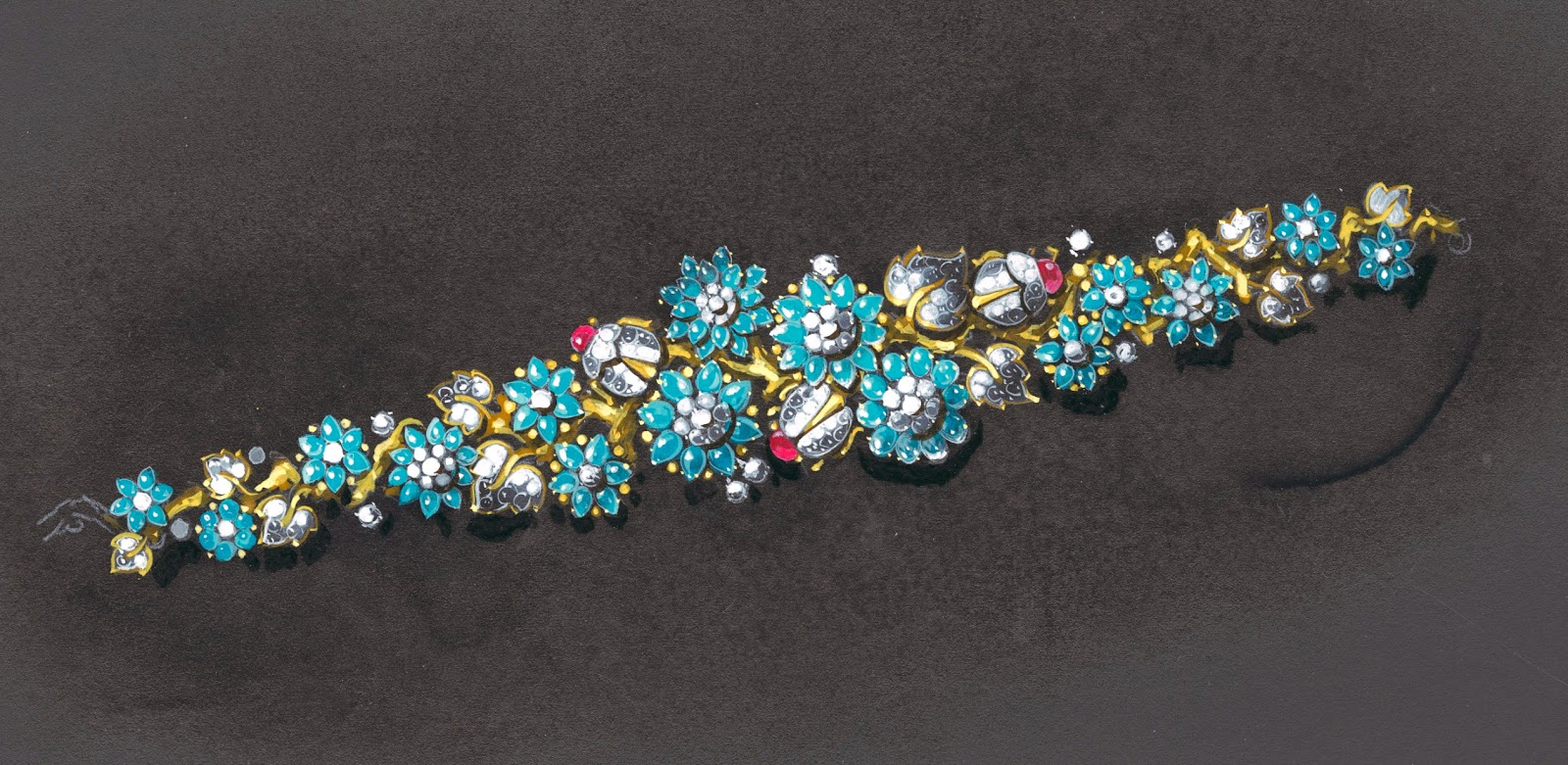 A color drawing of a jewelry piece featuring a cluster of jeweled flowers, leaves, and ladybugs.