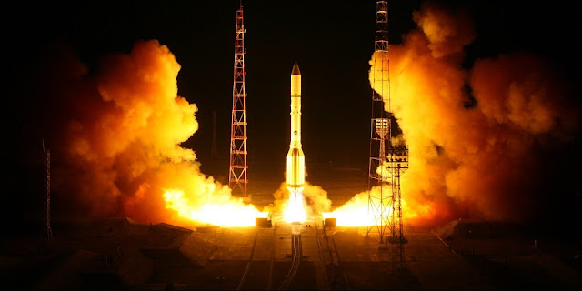 Proton-M rocket lifts off from Baikonur with the Blagovest 11L satellite on August 17, 2017, at 04:07 local time from the Baikonur Cosmodrome. Photo Credit: Roscosmos