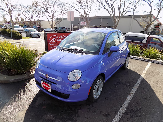 "Fiat 500 repainted in ""Lilac Blue"" at Almost Everything Auto Body"