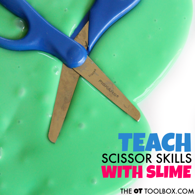 Help kids work on scissor skills by playing with slime