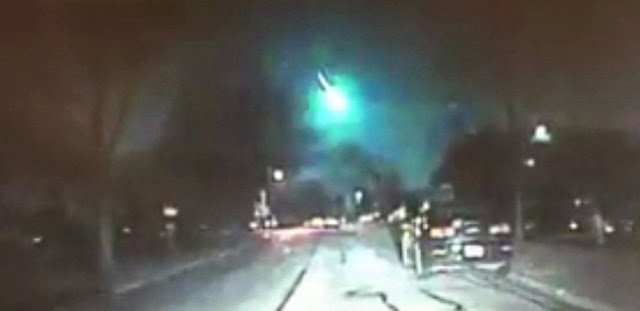 Feb. 6 meteor as viewed from a Lisle, IL police car dash cam. Credit: NWS Chicago/Twitter