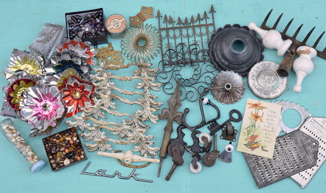 bits and pieces of vintage treasures for repurposing