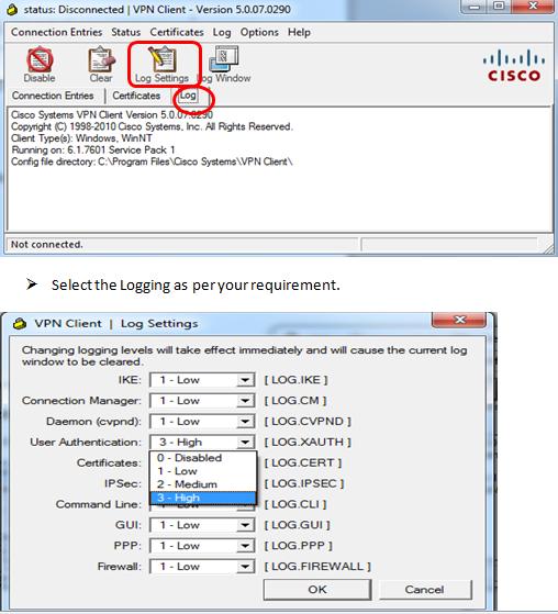 Cisco vpn client reason 403