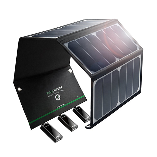 Chargeur solaire RAVPower 24W avec trois ports USB iphone, samung galaxy