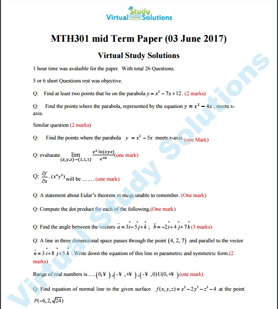MTH301 Current Mid Term Paper Spring 2017 Sample page