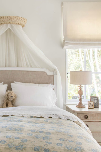 Beautiful feminine French farmhouse style bedroom by Giannetti Home - found on Hello Lovely Studio