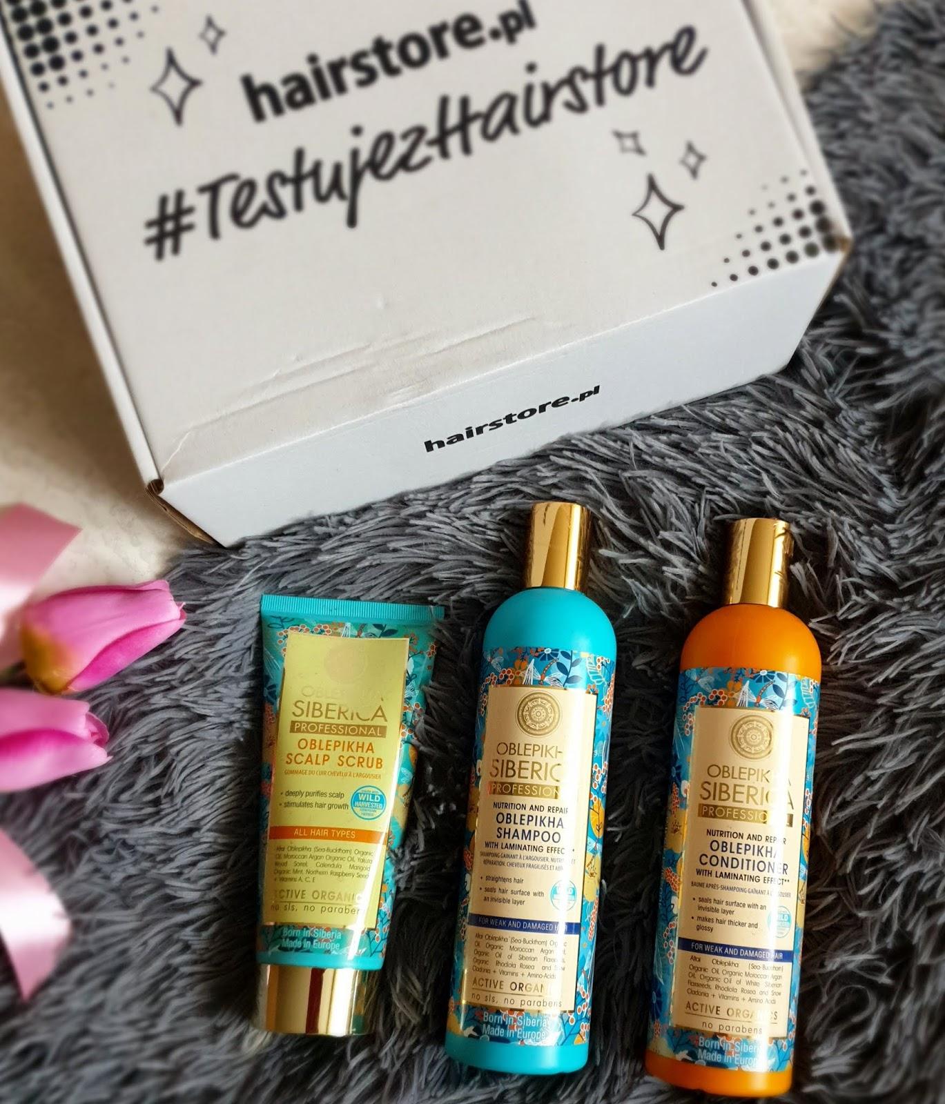 Natura Siberica - szampon i odżywka z efektem laminowania oraz peeling do skóry głowy.