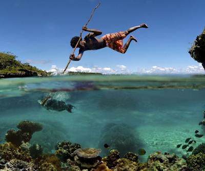 Foto tomada en el momento exacto de pesca