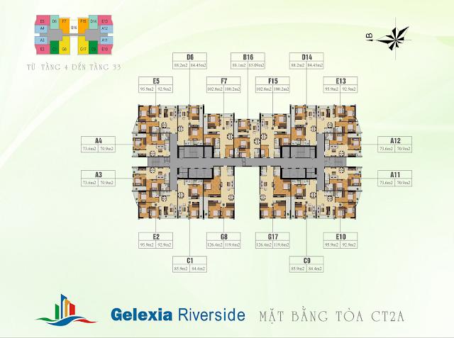 Mặt bằng tổng thể tòa CT2A chung cư Gelexia Riverside
