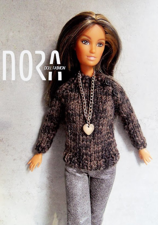 Simple brown-black mixcolored sweater for Barbie doll