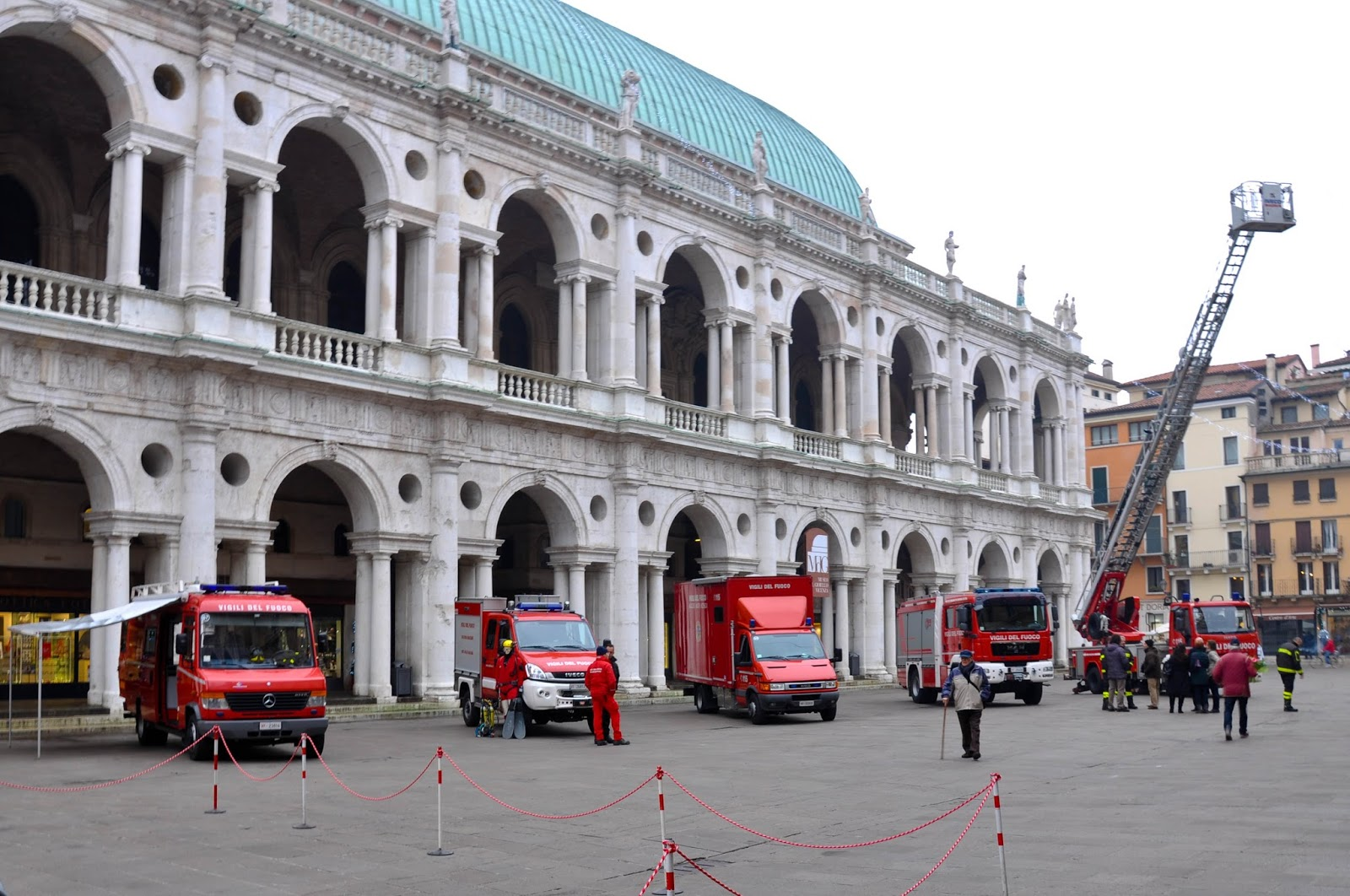 Fire engines, Piazza dei Signori, Saint Barbara celebration, Vicenza, Veneto, Italy