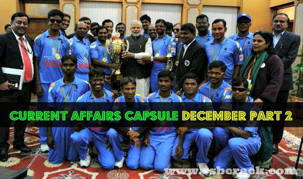 Current Affairs Capsule December Part 2