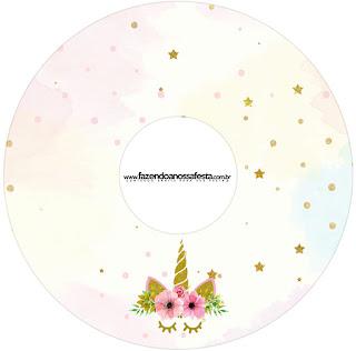 Etiquetas de Fiesta de Unicornios para CD's.