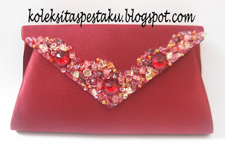 Tas Pesta Clutch Bag Warna Maroon Cantik Elegant