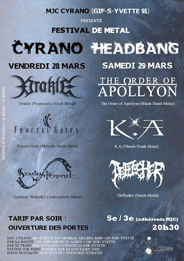 Orakle / Fractal Gates / Synthetic Waterfall @ MJC Cyrano, Gif-sur-Yvette 28/03/2014