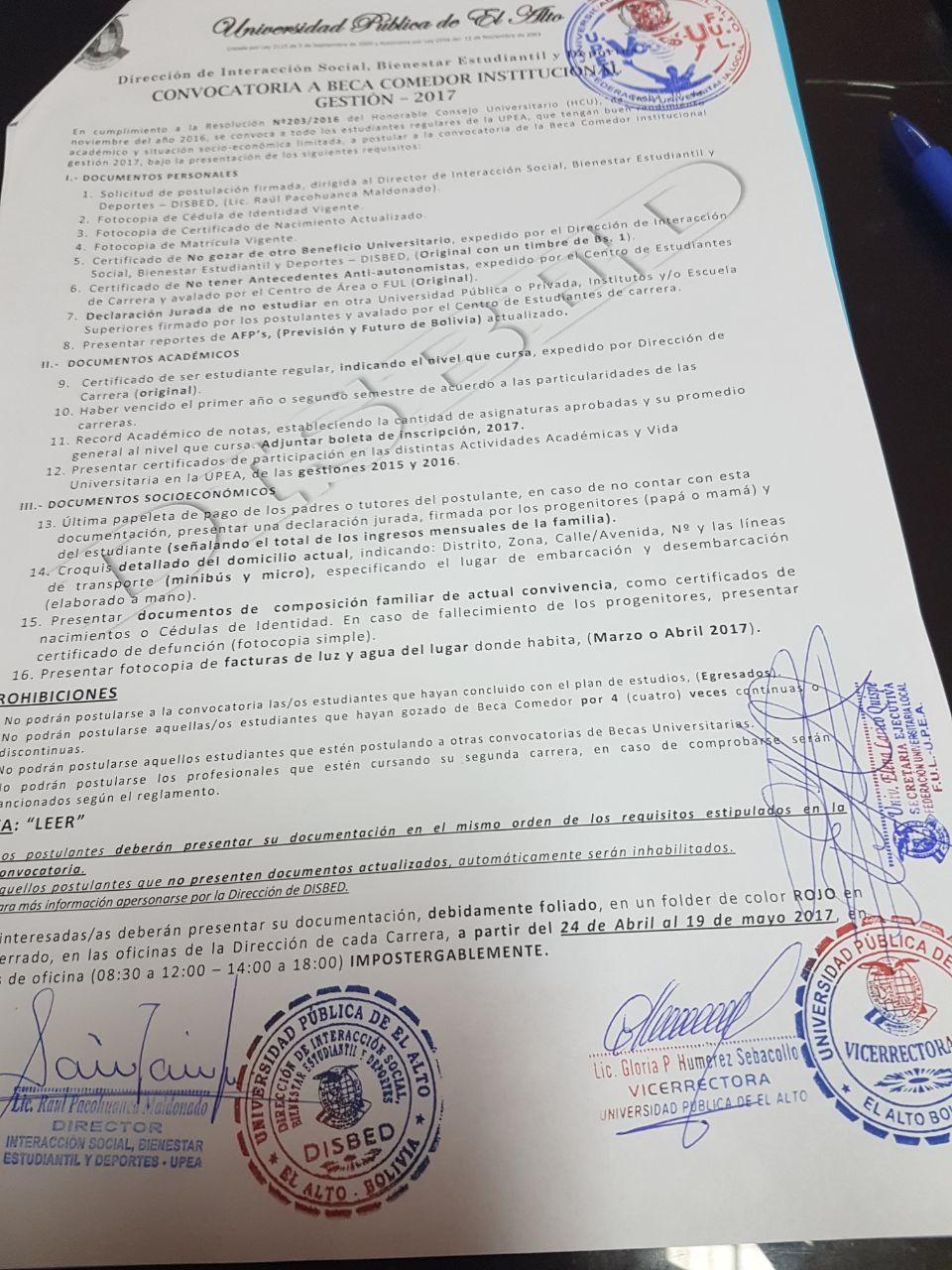 Requistos para la beca de comedor institucional de la UPEA ~ CARA a CARA