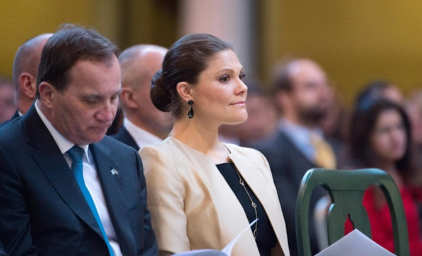 Crown Princess Victoria attends a conference at Stockholm City Hall