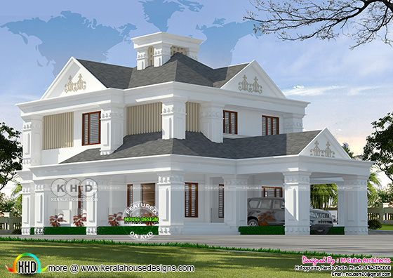 3d rendering of low budget renovation home to Colonial style