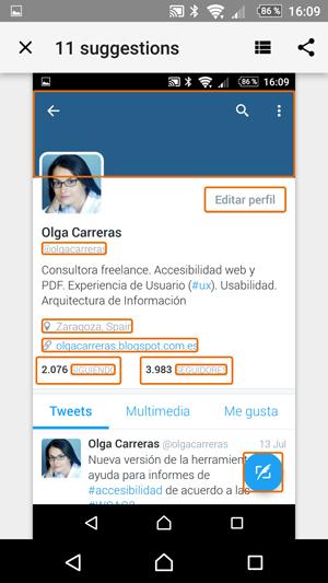 Captura de la pantalla del perfil de Olga Carreras en Twitter. Hay 11 enlaces e imágenes resaltados con un recuadro naranja.