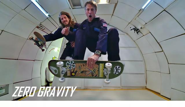 Tony Hawk und Aaron 'Jaws' Homoki zeigen Skatetricks bei Zero Gravity