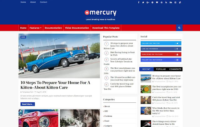 Mercury Responsive Magazine News Portal Blogger Template Theme