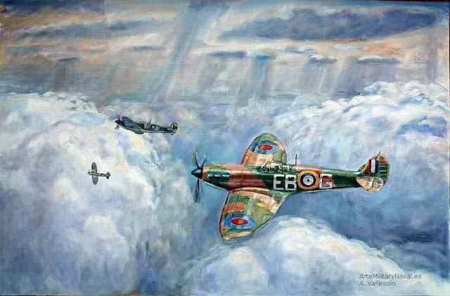 Oleo del ultimo avion spitfire de la batalla de inglaterra