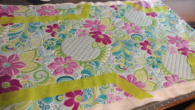 Free Motion Fantasy fabrics quilted baby changing mat