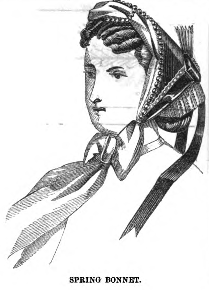 Crown-less fanchon bonnet, Peterson's, May 1865