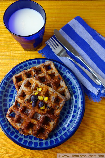 corn and blueberry waffles