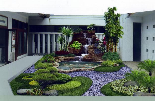 Taman Rumah Minimalis Sederhana Terbaru | kerajinan dari bambu
