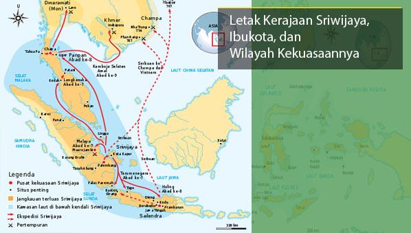 Letak Kerajaan Sriwijaya Ibukota Peta Wilayah Kekuasaannya Gambar Buta Selat