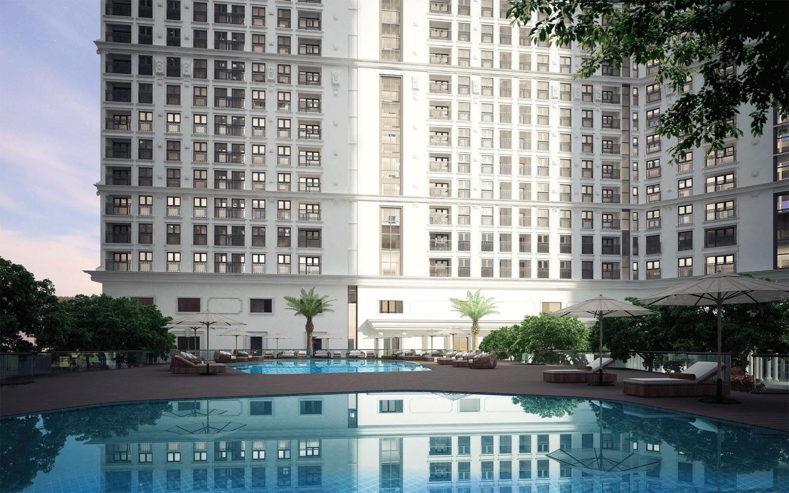 Góc nhìn dự án The Emerald Mỹ Đình từ bể bơi