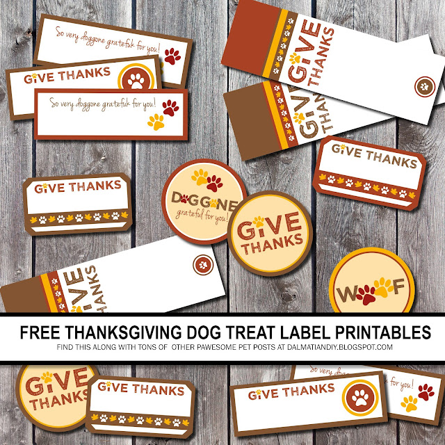 Printable brown yellow and orange Thanksgiving dog treat tags and labels