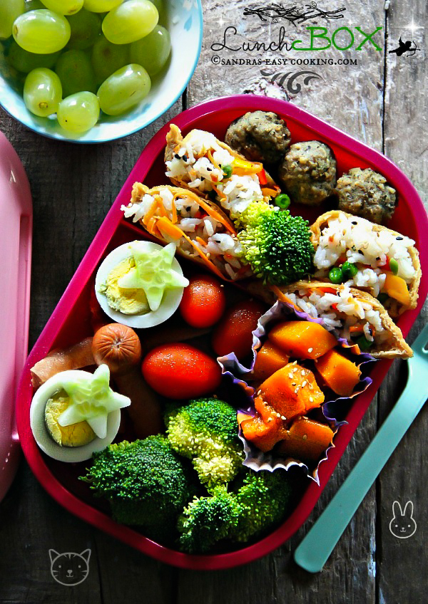 Lunch Box: Yubu Chobap (Inarizushi) /fried tofu pouches stuffed with rice, vegetables and seasonings.