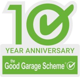 10 Tick Good Garage Scheme logo Anniversary