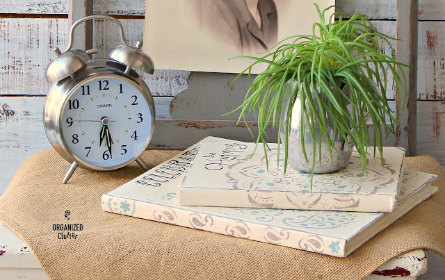 Decorative Up-cycled & Stenciled Thrift Shop Books #stencil #chalkpaint #upcycle
