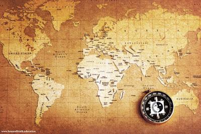 Maailmankartta ja kompassi kuvassa.