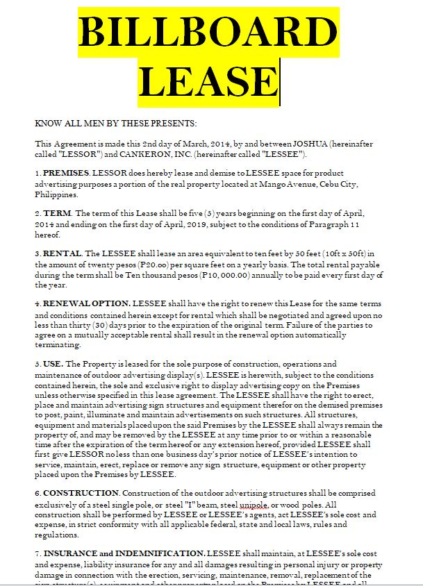 Billboard Lease Contract And Agreement Example In Doc Word