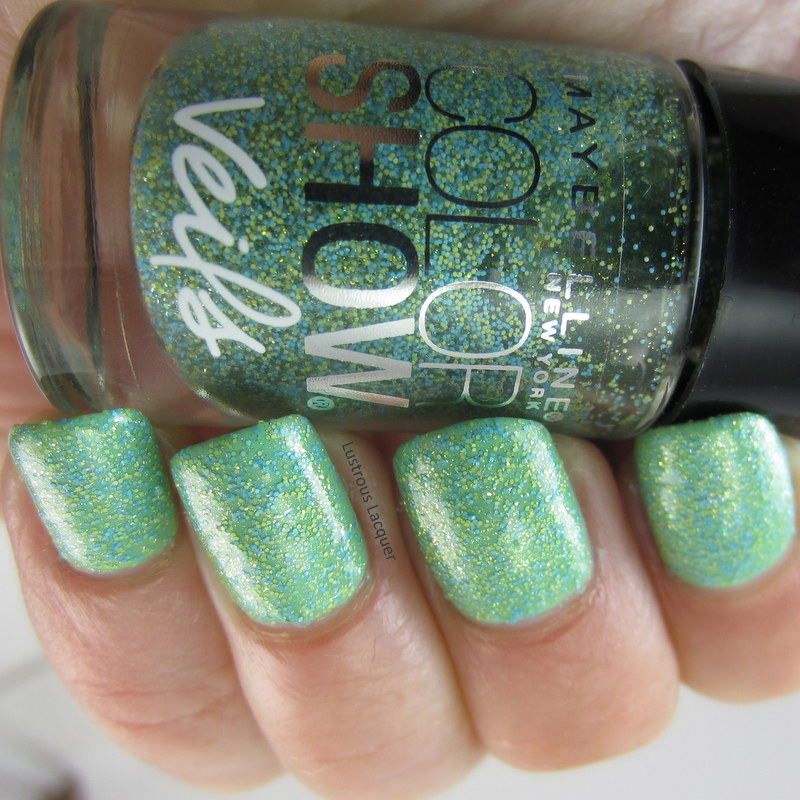 maybleeine glitter nail polish in gold and green