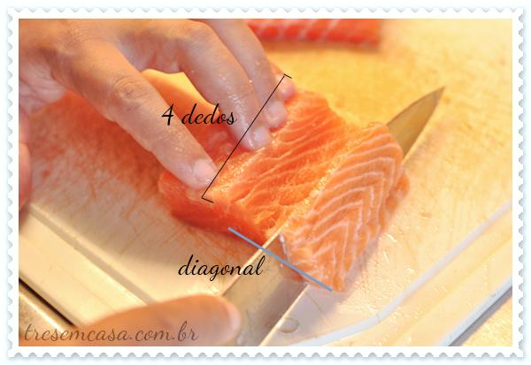 como cortar salmão para sashimi