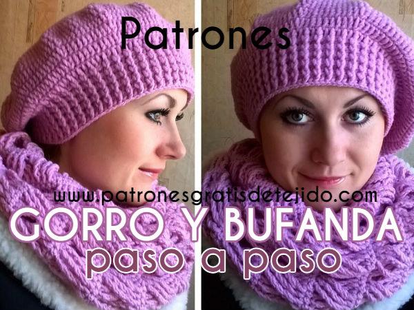 Patrones y Paso a paso de Gorro de estilo Boina y Bufanda a Crochet ... 6aac9b11a91