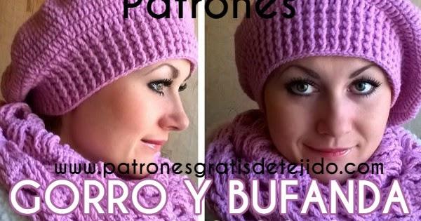 5f6d3ac2f Patrones y Paso a paso de Gorro de estilo Boina y Bufanda a Crochet ...
