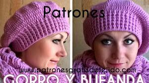 Patrones y Paso a paso de Gorro de estilo Boina y Bufanda a Crochet